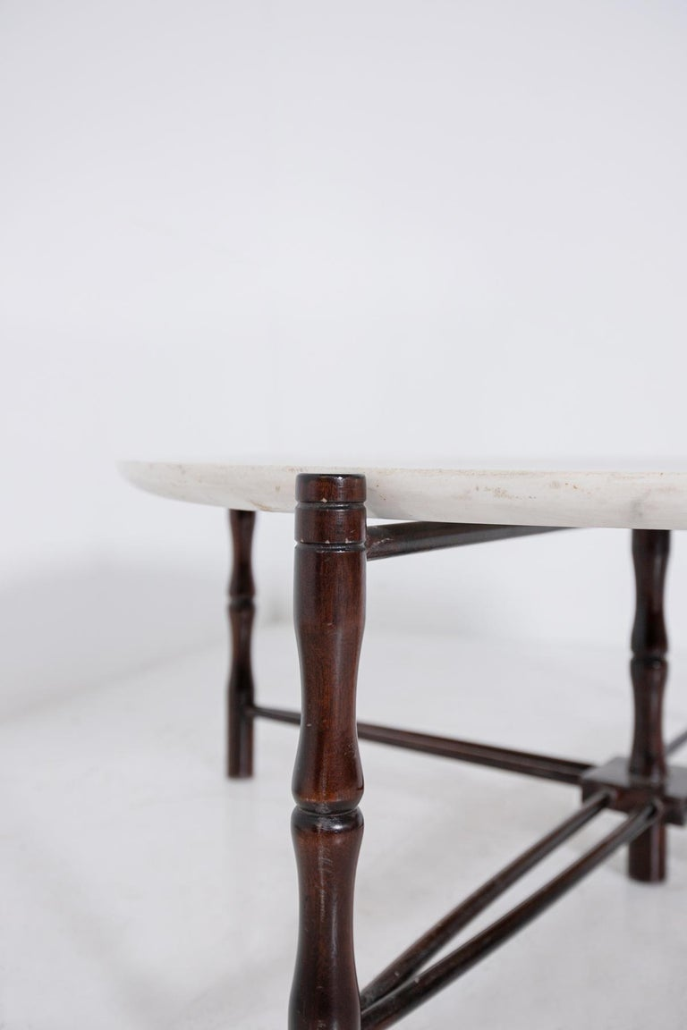Italian Coffee Table by Giuseppe Scapinelli in Wood and Marble, 1950s For Sale 1