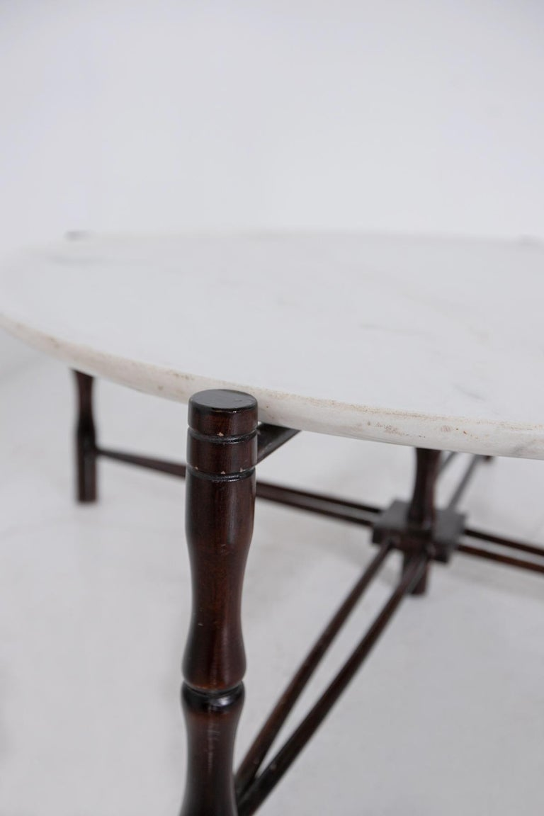 Italian Coffee Table by Giuseppe Scapinelli in Wood and Marble, 1950s For Sale 2