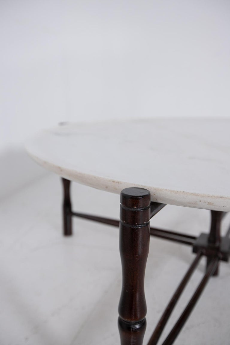 Italian Coffee Table by Giuseppe Scapinelli in Wood and Marble, 1950s For Sale 3