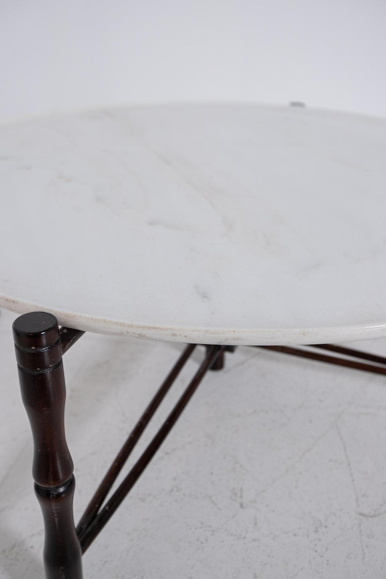 Italian Coffee Table by Giuseppe Scapinelli in Wood and Marble, 1950s For Sale 4