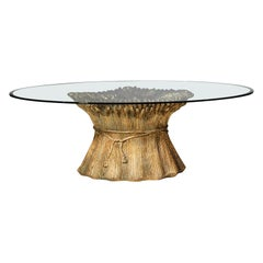 Italian Coffee Table from 1950s in Golden Ceramic and Glass Top Ears of Wheat
