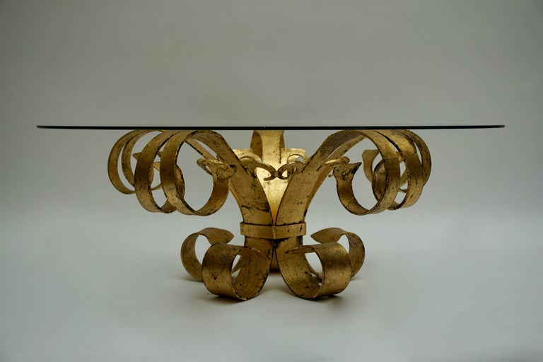 Gilt Italian Coffee Table in Glass and Gilded Metal  For Sale