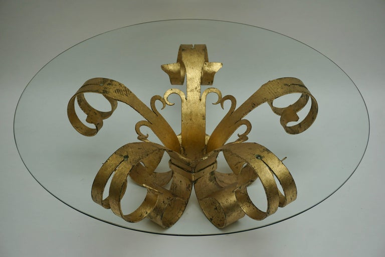 20th Century Italian Coffee Table in Glass and Gilded Metal  For Sale