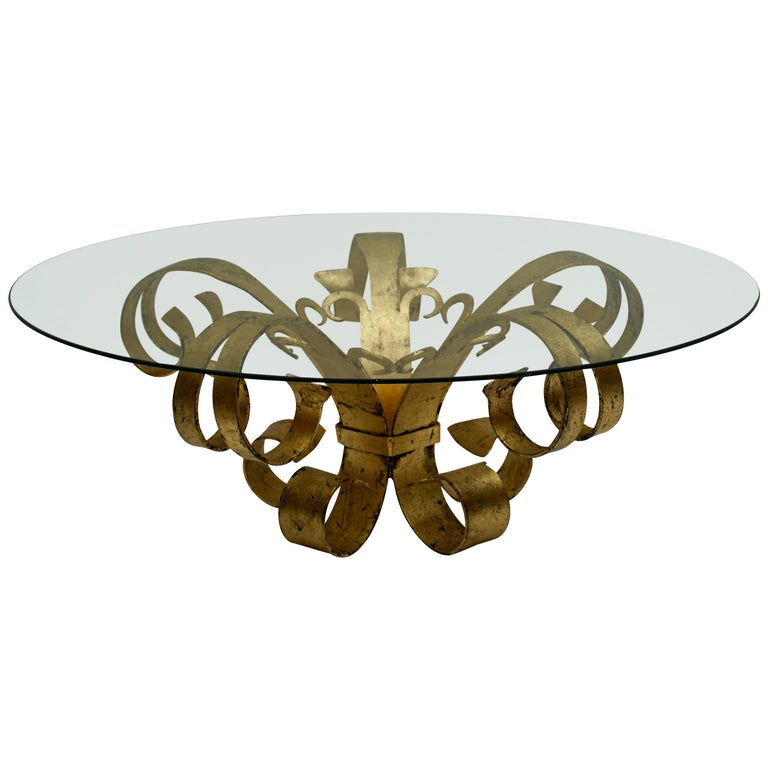 Italian Coffee Table in Glass and Gilded Metal  For Sale