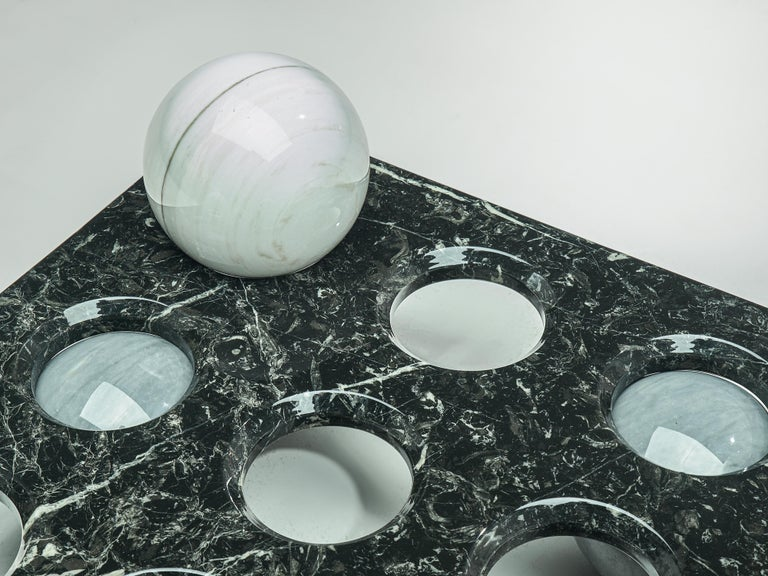 Post-Modern Italian Coffee Table in Glass and Marble Spheres For Sale