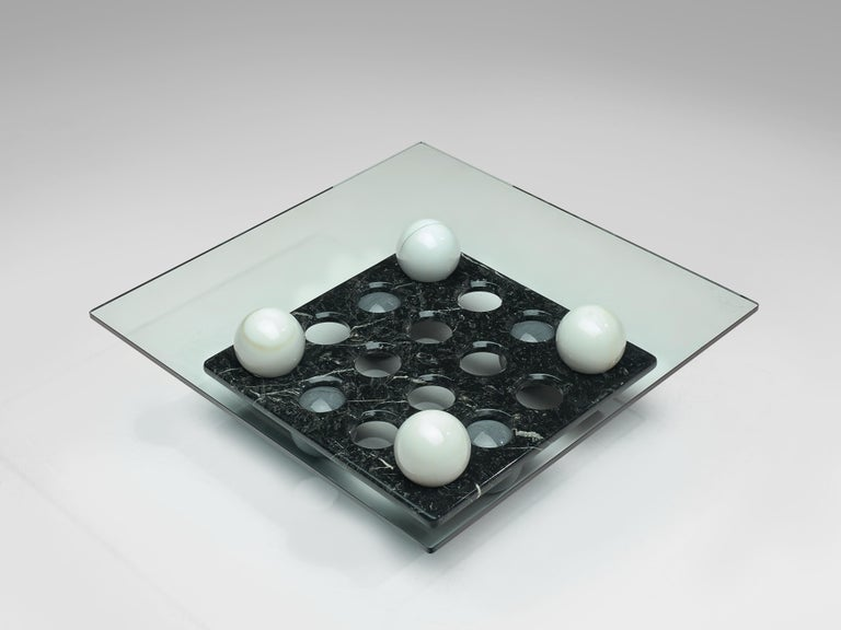 Italian Coffee Table in Glass and Marble Spheres In Good Condition For Sale In Waalwijk, NL