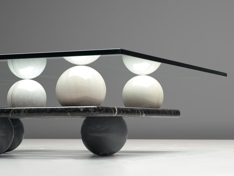 Late 20th Century Italian Coffee Table in Glass and Marble Spheres For Sale