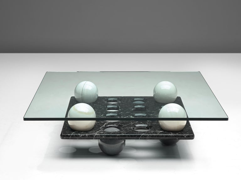 Italian Coffee Table in Glass and Marble Spheres For Sale 1