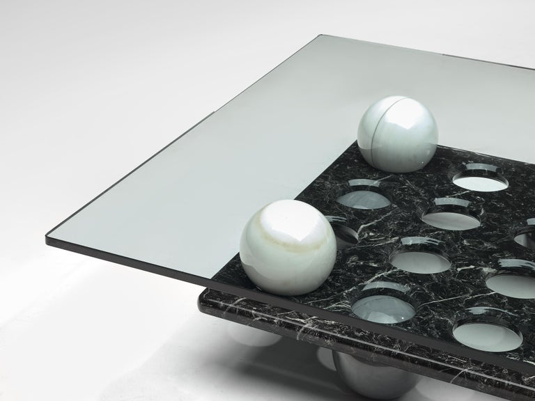 Italian Coffee Table in Glass and Marble Spheres For Sale 2