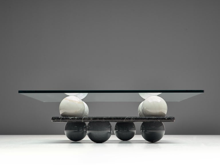 Italian Coffee Table in Glass and Marble Spheres For Sale 3