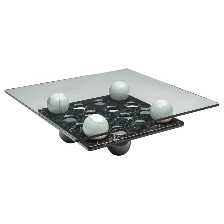 Italian Coffee Table in Glass and Marble Spheres For Sale