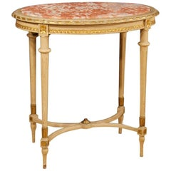 Italian Coffee Table in Lacquered Giltwood with Marble Top in Louis XVI Style