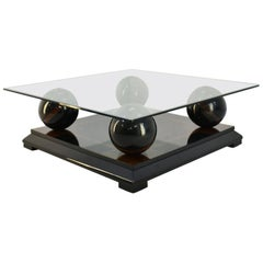 Italian Coffee Table in Lacquered Wood and Glass Top, 1970s
