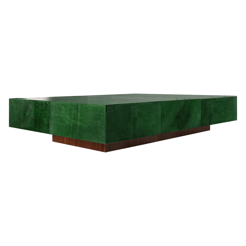 Italian Coffee Table in Parchment Goatskin Leather in Emerald Green
