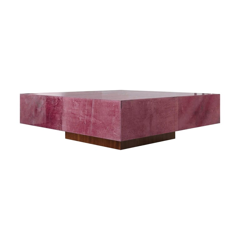 Italian Coffee Table in Parchment Goatskin Leather in Red Plum Pantone For Sale