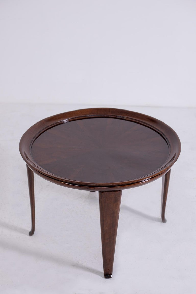 Italian Coffee Table in Walnut, Restored 1950s For Sale 2
