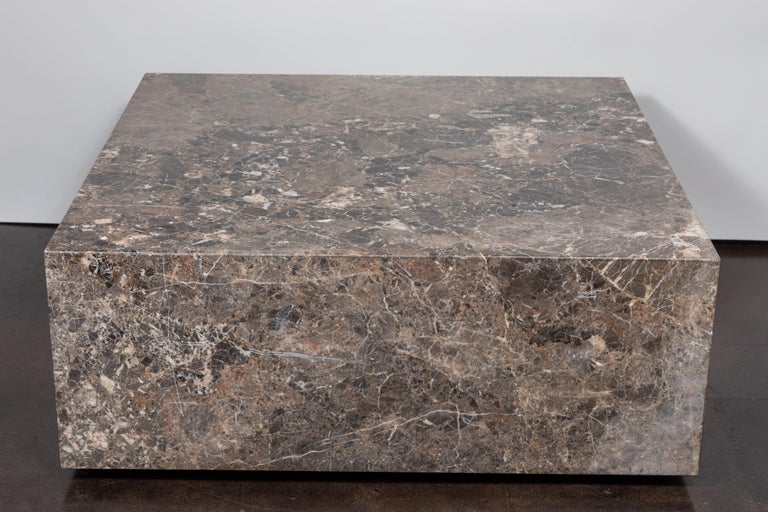 Classic and timeless this Italian marble coffee table is made from emperador marble and encompasses light to dark browns and swirls of cream. Professionally polished.