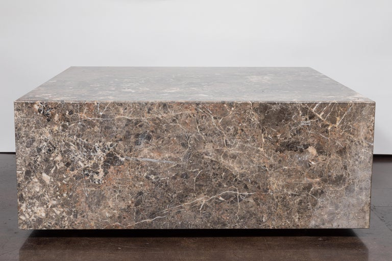 Late 20th Century Italian Coffee Table of Emperador Marble, 1980s For Sale