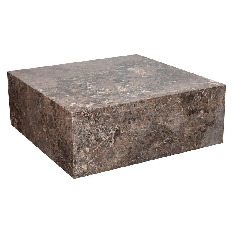Italian Coffee Table of Emperador Marble, 1980s For Sale
