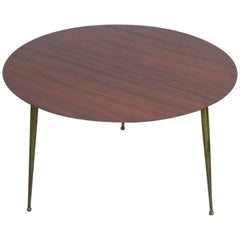 Italian Coffee Table Round in Mahogany an Brass, 1950s