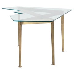 Italian Coffee Table with Brass Frame and Cut Crystal Glass Top