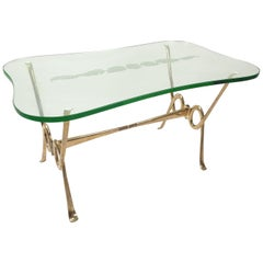 Italian Coffee Table with Etched Glass and Brass Base, 1960s