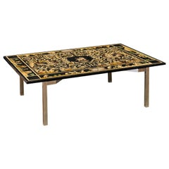 Italian Coffee Table with Mythological Baroque Scenery Top on Silver Metal Base