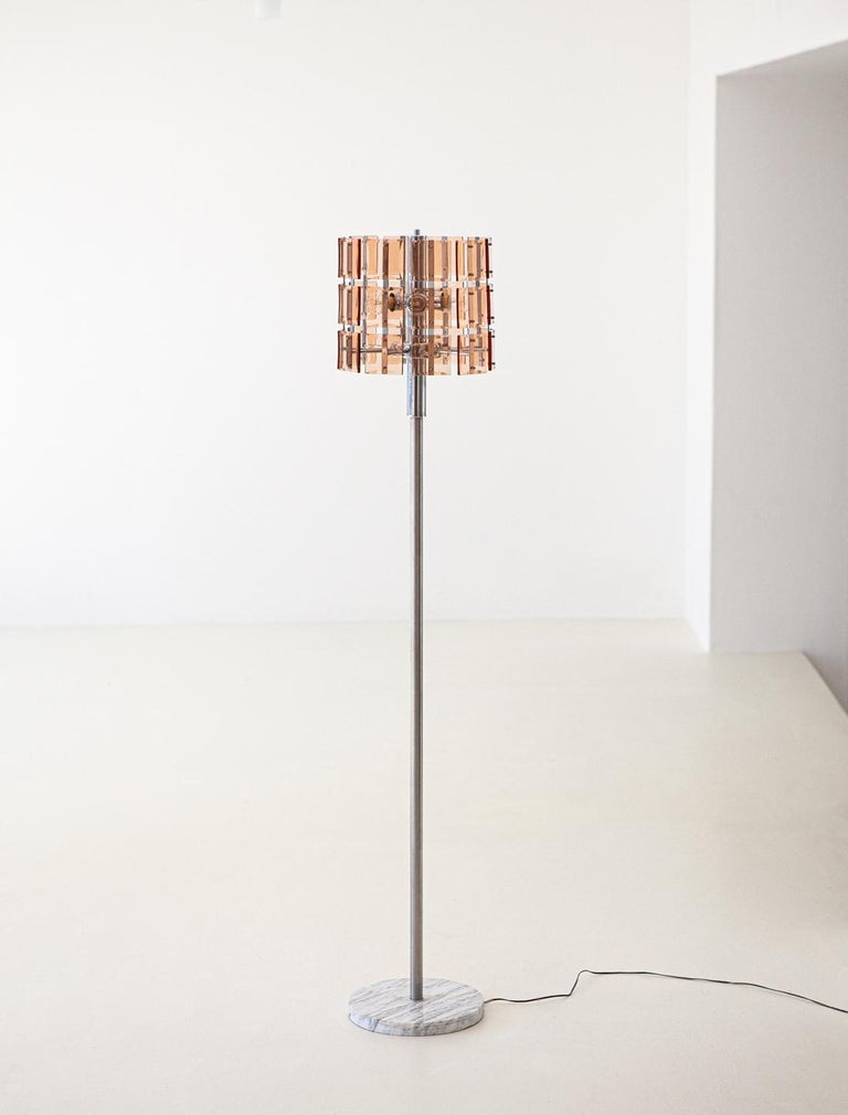 Italian Cognac Glass with Marble Floor Lamp, 1970s For Sale 1