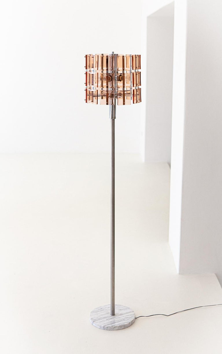 Italian Cognac Glass with Marble Floor Lamp, 1970s For Sale 2