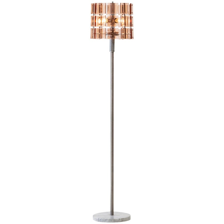 Italian Cognac Glass with Marble Floor Lamp, 1970s For Sale