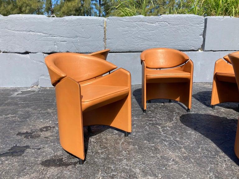 Italian Cognac Leather Armchairs For Sale 5