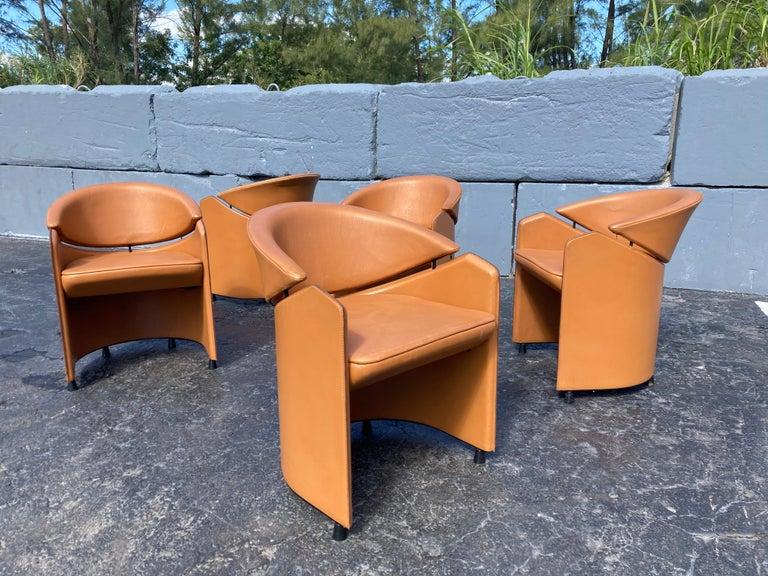 Italian Cognac Leather Armchairs For Sale 6