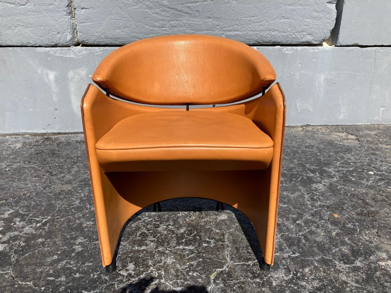 Italian Cognac Leather Armchairs For Sale 7