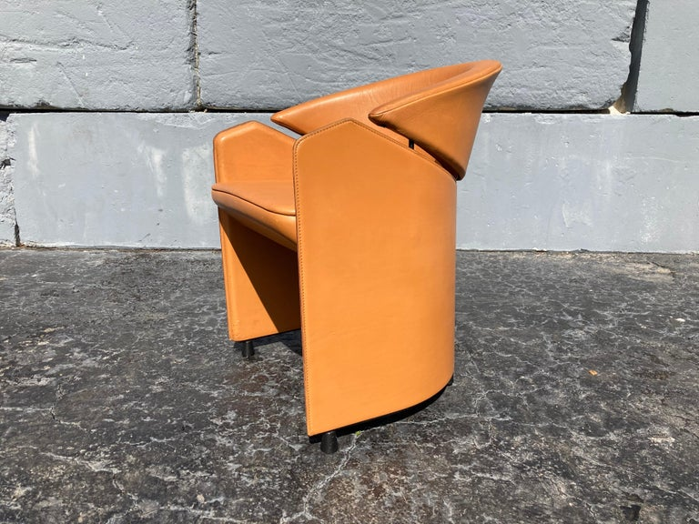 Italian Cognac Leather Armchairs For Sale 8