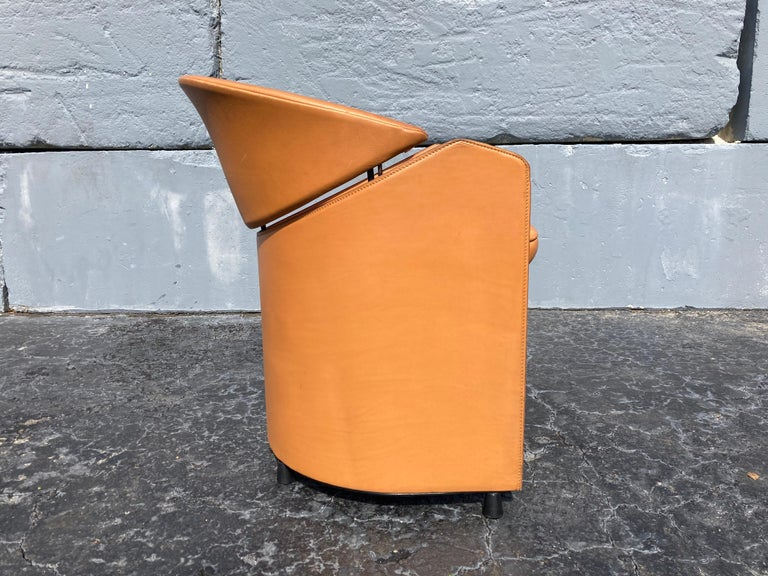 Italian Cognac Leather Armchairs For Sale 9