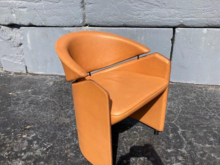 Italian Cognac Leather Armchairs For Sale 10