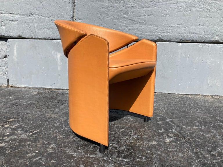 Italian Cognac Leather Armchairs For Sale 11