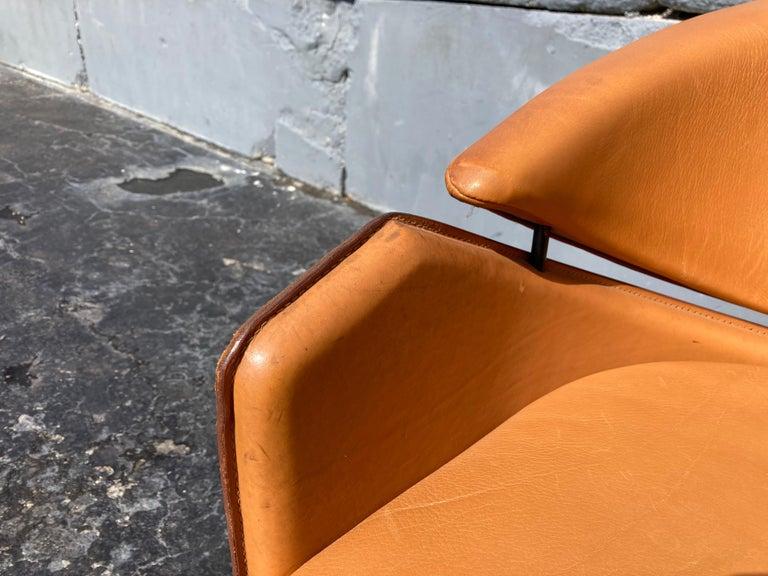 Italian Cognac Leather Armchairs For Sale 12