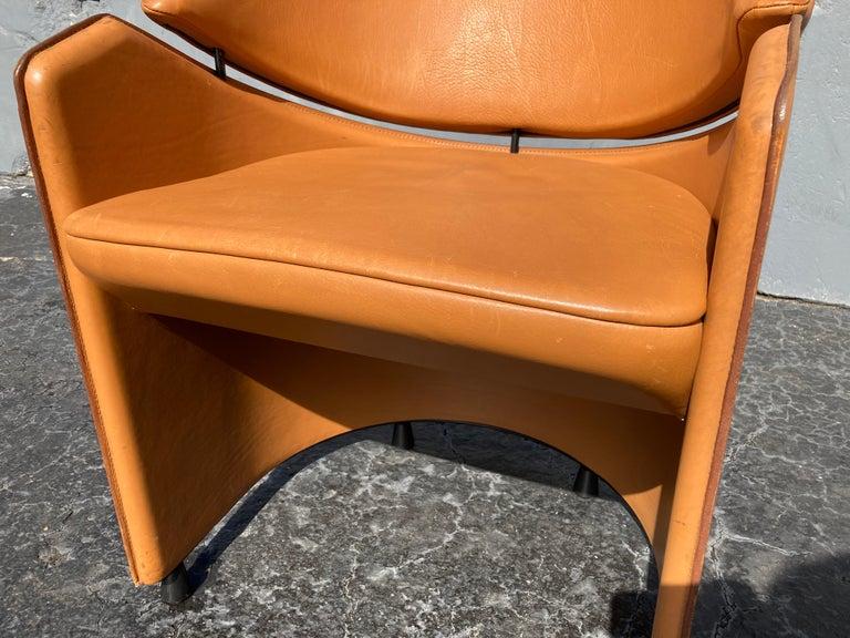 Italian Cognac Leather Armchairs For Sale 13