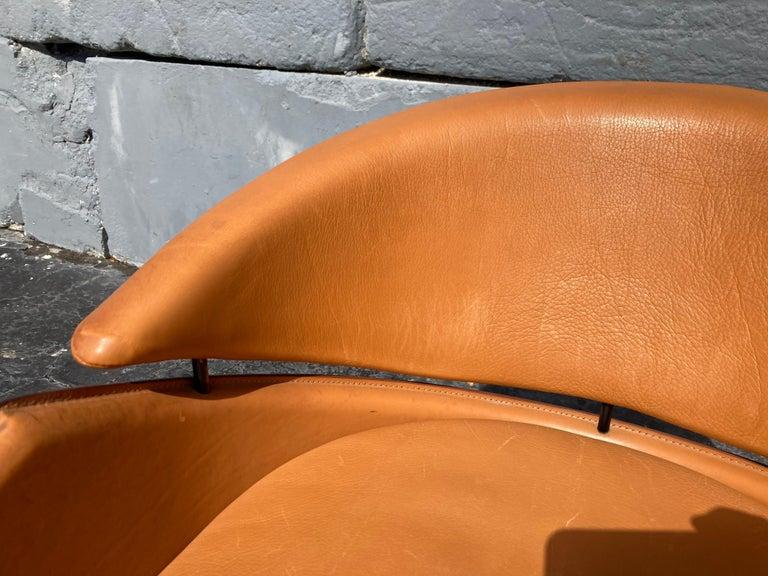 Italian Cognac Leather Armchairs For Sale 14
