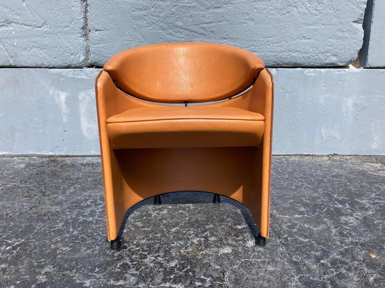 Italian Cognac Leather Armchairs For Sale 15