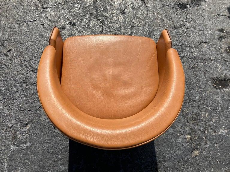 Modern Italian Cognac Leather Armchairs For Sale
