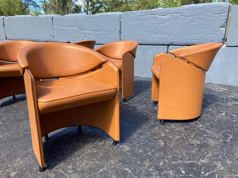 Italian Cognac Leather Armchairs In Good Condition For Sale In Opa Locka, FL