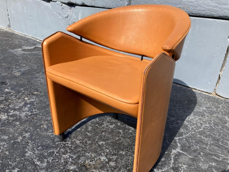 Late 20th Century Italian Cognac Leather Armchairs For Sale