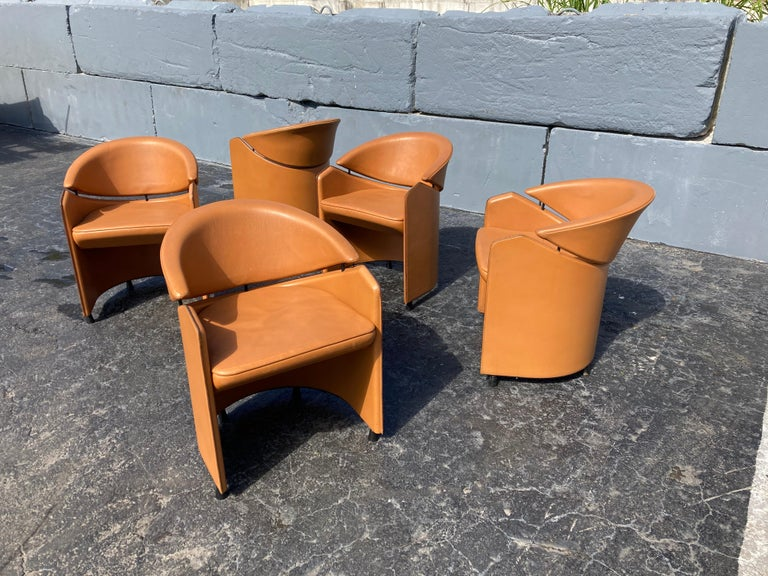 Italian Cognac Leather Armchairs For Sale 2