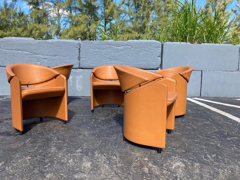 Italian Cognac Leather Armchairs For Sale 3