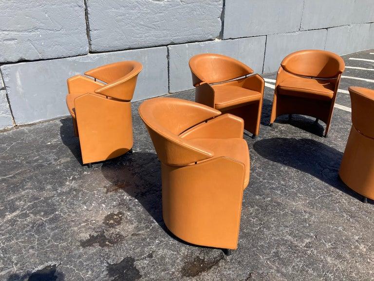 Italian Cognac Leather Armchairs For Sale 4