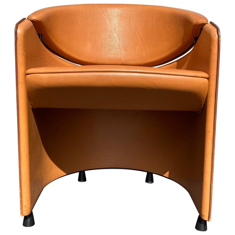 Italian Cognac Leather Armchairs For Sale