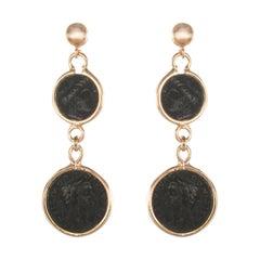 Italian Coins Rose Vermeil Long Dangle Earrings