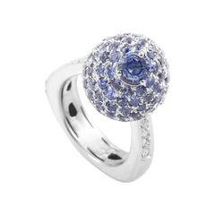 Italian Collection 18 Karat White Gold Sapphire and Diamond Ring